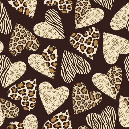 fuzz: Seamless background with hearts with animal skin pattern. Illustration