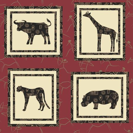 Seamless background with african animals. Buffalo, giraffe, gepard , hippopotamus. Vector