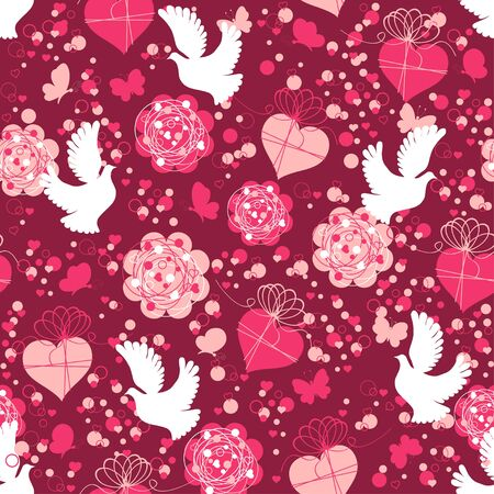 Valentine seamless pattern with hearts and doves Vector