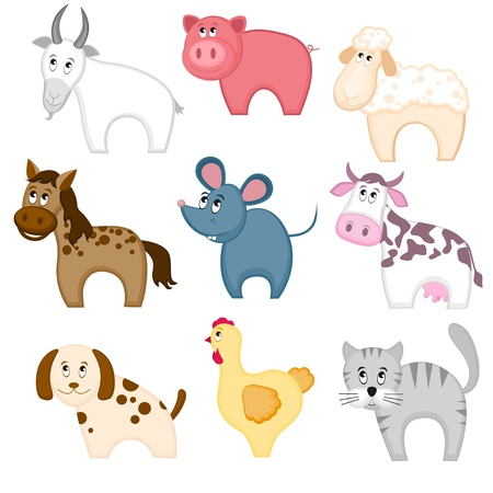 Set of funny cartoon pets Vector