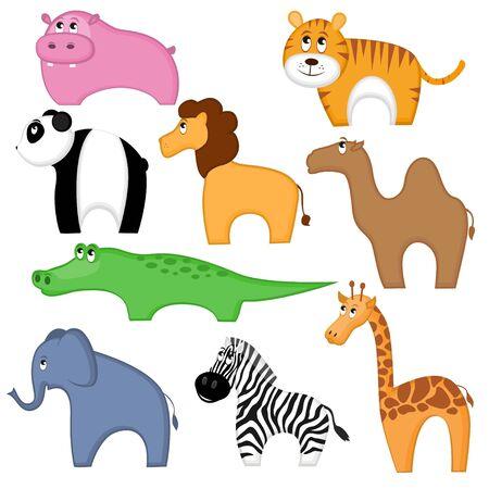 humped: Set of funny cartoon animals