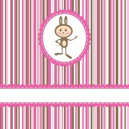 Invitation card with funny rabbit on stripe background Vector