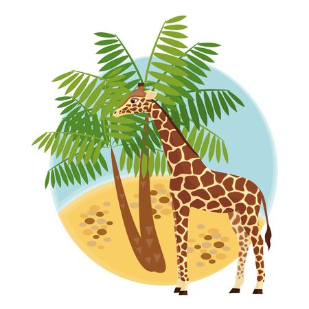 Illustration with giraffe and palm Vector