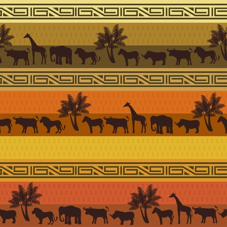 red rug: African style background with wild animals and abstract signs Illustration