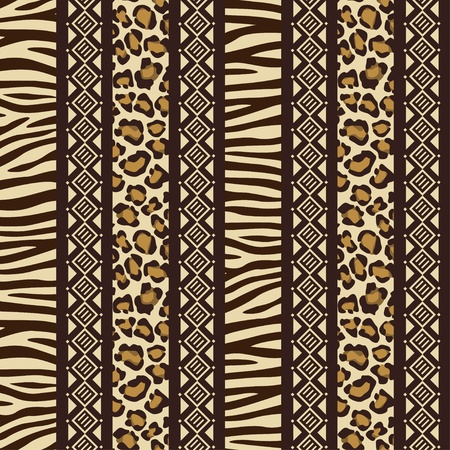 tribe: African style seamless with wild animal skin patterns