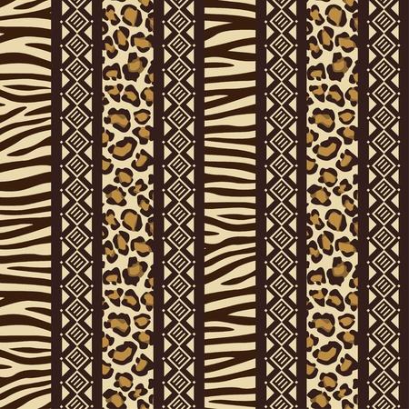 tribu: Estilo Africano transparente con patrones de piel de animal salvaje Vectores