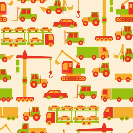 yellow tractors: Cartoon cars pattern