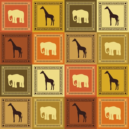 yellow african: Wild animal seamless pattern