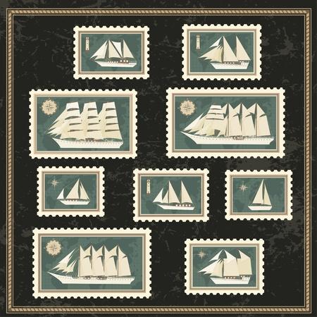 Set of postage stamp with sailfishs Vector