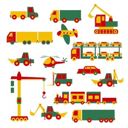 yellow tractor: Set of cartoon toys Illustration