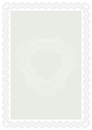 grecian: Guilloche style form for diploma or certificate. A4. Illustration