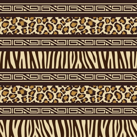 africa safari: African style seamless pattern with wild animals skins