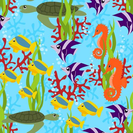 clown fish: sea life seamless pattern Illustration
