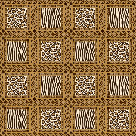 African style seamless pattern with wild animals skins Vector