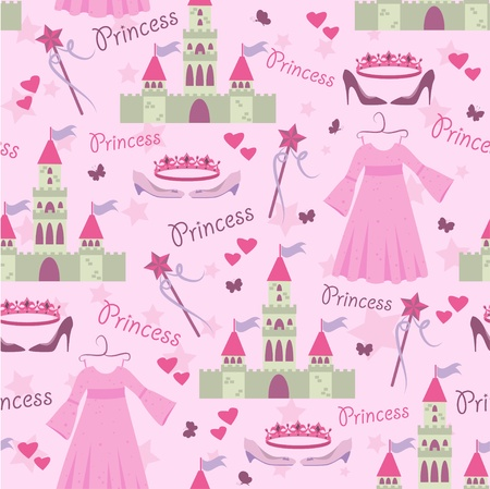 Seamless pattern with princess accessories Stock Vector - 9473081