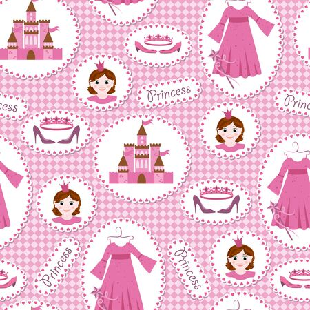 princess castle: Seamless pattern with princess accessories Illustration