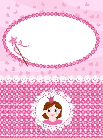 Invitation card with princess and wand. Vektorové ilustrace