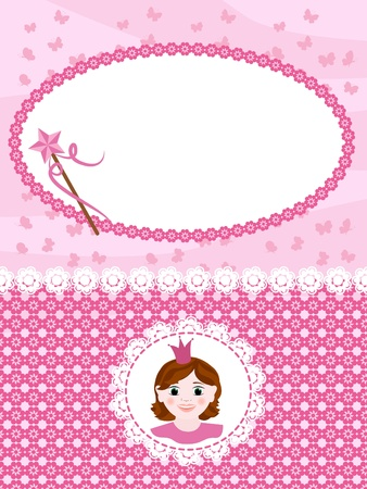 Invitation card with princess and wand. Vector