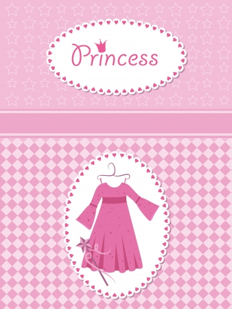cartoon little red riding hood: Invitation card with princess dress and wand. Illustration