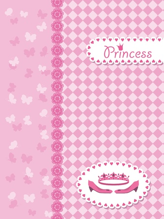 Invitation card with princess crown and shoes. Vector