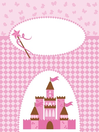cartoon little red riding hood: Invitation card with princess castle and wand. Illustration