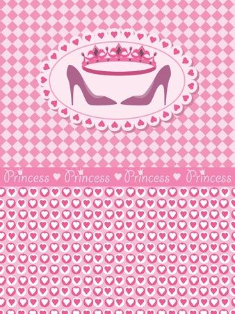 fairy story: Carta di invito con principessa corona e scarpe Vettoriali