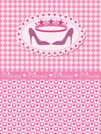 Invitation card with princess crown and shoes Vector