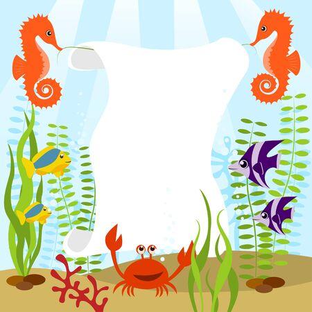 Sea life card Vector
