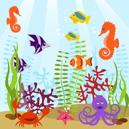 Sea life card Stock Vector - 9475102