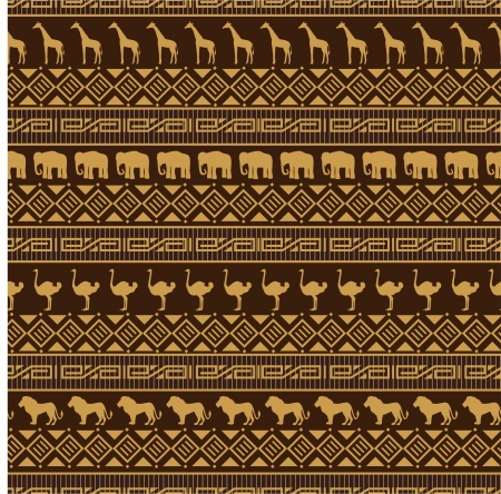 African style seamless pattern with wild animals. Vector