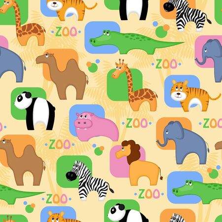Funny African animals seamless background Vector