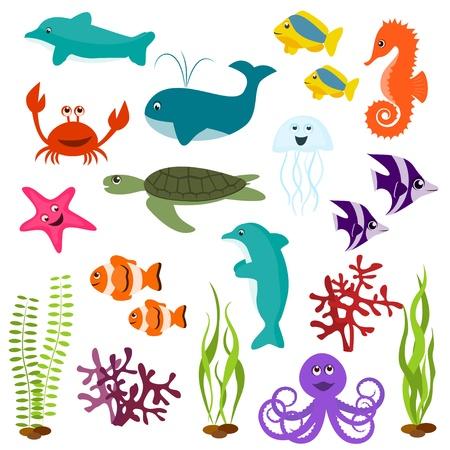 peces caricatura: Conjunto de animales marinos