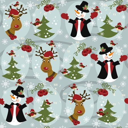 Christmas pattern seamless with snowman and Christmas Deer Vector