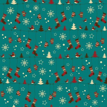 Christmas pattern with folk socks and mittens Vector