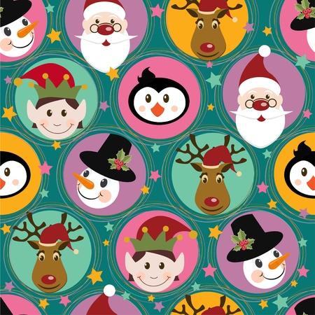 duendes de navidad: Patr�n de Navidad con Santa, ciervos, ping�ino, elf y mu�eco de nieve