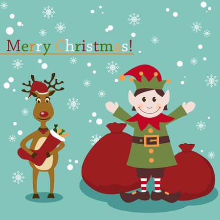 Christmas and New Years greeting card with elf and deer Vector