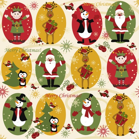 Patrón transparente de Navidad con bolas, ciervos, Santa, elf, ciervos, bell, árbol y presente