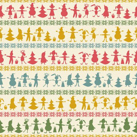 repeated: Christmas seamless pattern with balls , deer, Santa, elf, deer, tree and present