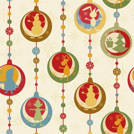 bunny xmas: Colorful Christmas seamless pattern with balls , deer, Santa, elf, deer, tree and presen