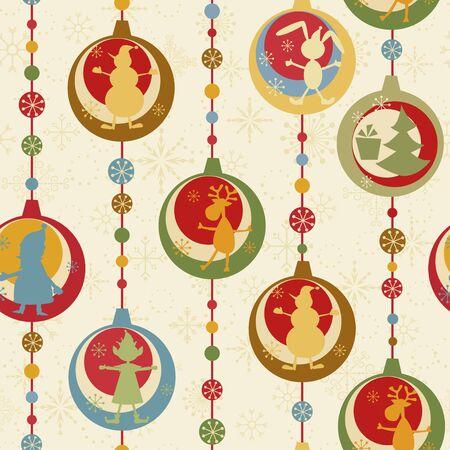Colorful Christmas seamless pattern with balls , deer, Santa, elf, deer, tree and presen Stock Vector - 9658129