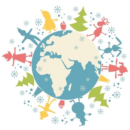 mani terra: Personaggio di Natale felice e il pianeta terra