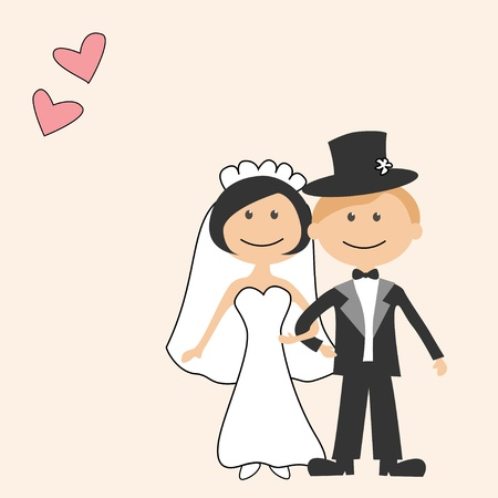 groom and bride: Wedding invitation with funny bride and groom Illustration