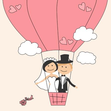 Invitation de mariage avec bride drôle et marié le ballon à air