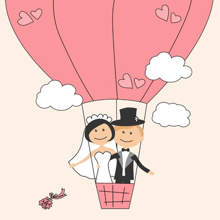 bride groom: Wedding invitation with funny bride and groom on air balloon Illustration