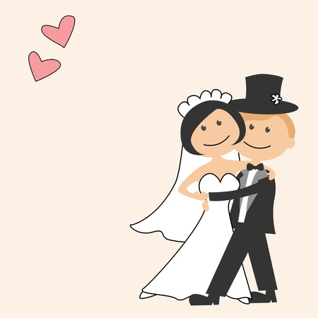 Wedding invitation with funny bride and groom Vector