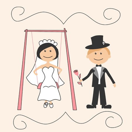 Wedding invitation with funny groom and bride on swing