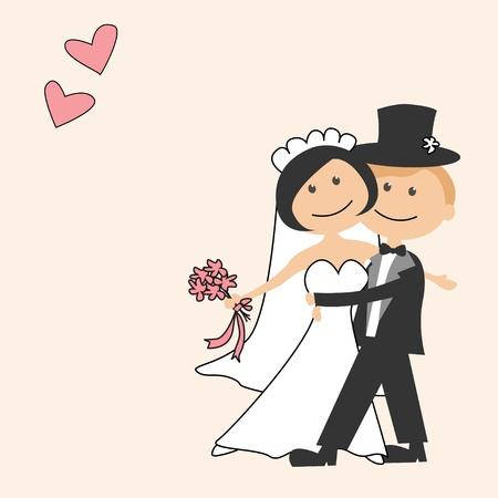 braut und bräutigam: Einladung zur Hochzeit mit lustigen Braut und Br�utigam Illustration