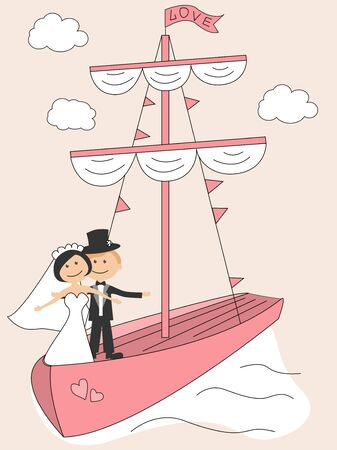 Wedding invitation with funny bride and groom in sailfish Vector