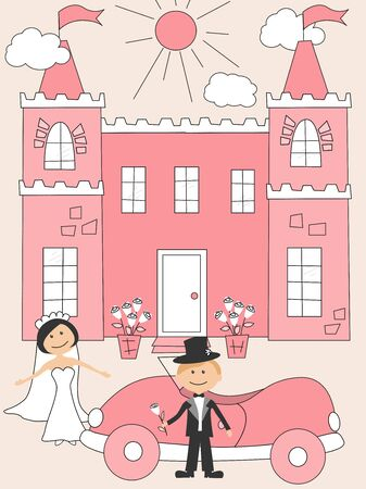 Wedding invitation with  funny bride and groom Stock Vector - 9820006