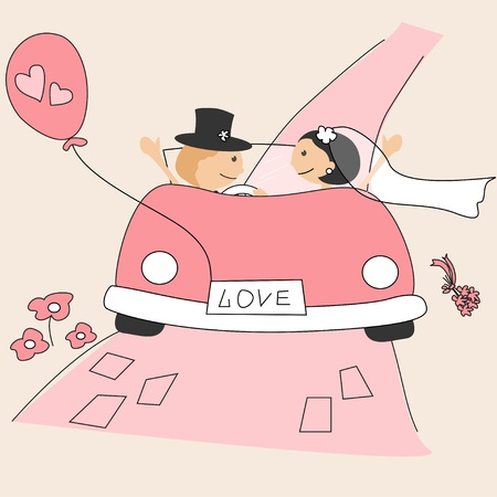 bride groom: Wedding invitation with  funny bride and groom Illustration